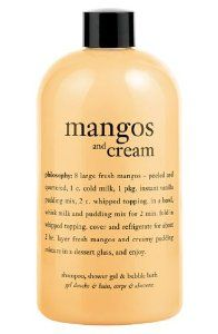 Philosophy Mangos and Cream Shampoo, Shower Gel and Bubble Bath 16oz by Philosophy. $34.95. Multitasking, 3-in-1 shower gel. The perfect blend of sweet and creamy. Leaves skin and hair feeling silky soft. For the mango lover, mangos and cream shampoo, shower gel and bubble bath provides a rich, foaming lather infused with the refreshing scent of fresh, ripe mangos and a touch of vanilla. Our 3-in-1 shower gel cleanses and conditions skin and hair for a multi-sensory sho...