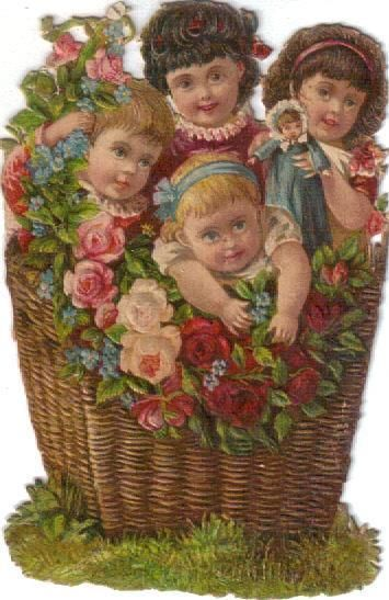 Victorian Die Cut Scrap Babies & Doll in Wicker Basket w Roses c1880s: Victorian Die Cut Scrap Babies & Doll in Wicker Basket w Roses c1880s