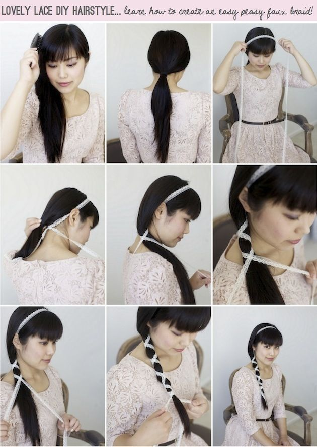 Simple & Pretty DIY Hairstyle Using Lace | Bridal Musings.I have been doing this a while now.I am surprised there was no tutorial before this one. @ Shaeron Dunlap