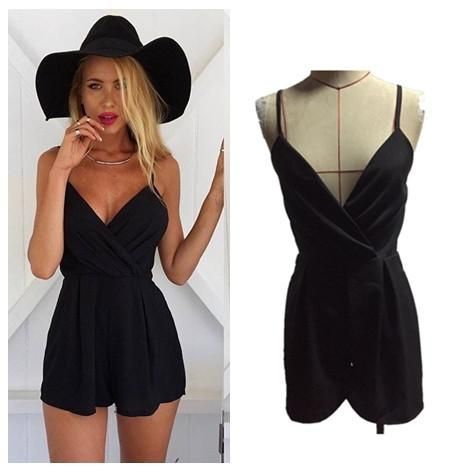 Casual Black Jumpsuit Women Strap Sexy Rompers Playsuit Overalls macacao S6365