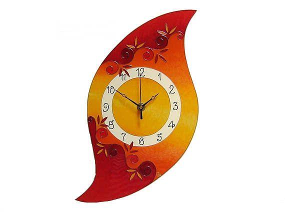 Orange Claret Large Wall Clck,  Silent, Unique, Glass paiting clock, Red home decor