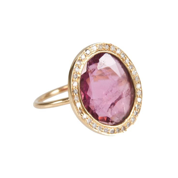 18-carat gold Tourmaline Ring with White Diamonds by Ibiza Designer Spiritual Gypsy available on the White Ibiza Shop #whiteibiza #ibiza2014 #ibizastyle