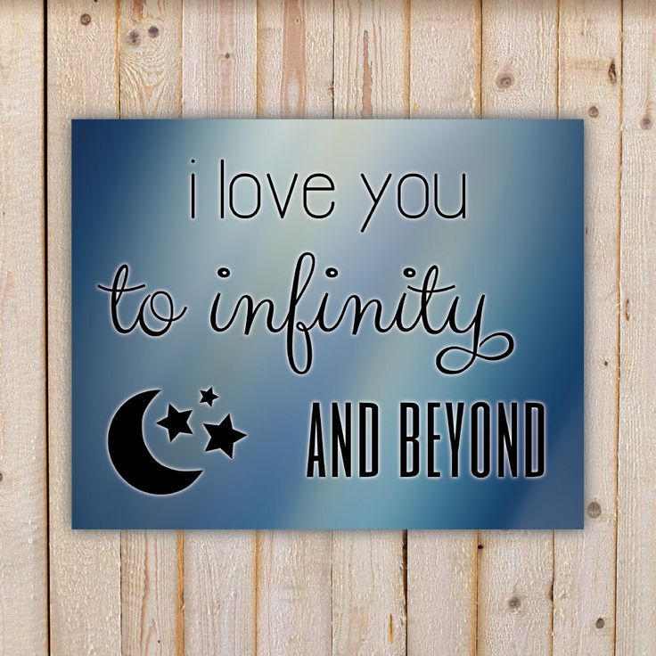 I Love You To Infinity And Beyond, blue background - Wall ...