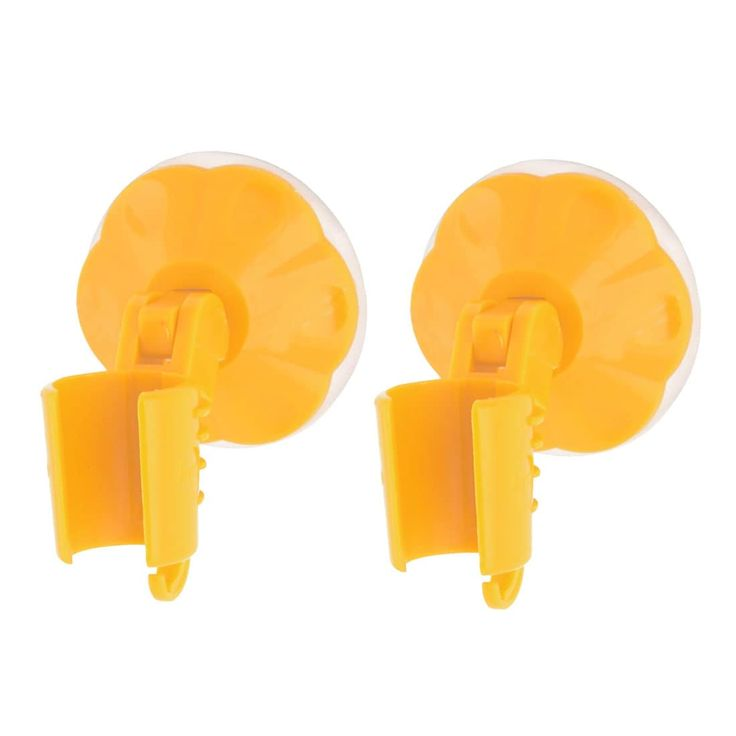 Bathroom Rubber Suction Cup Wall Mounted Shower Head Holder Orange 2pcs
