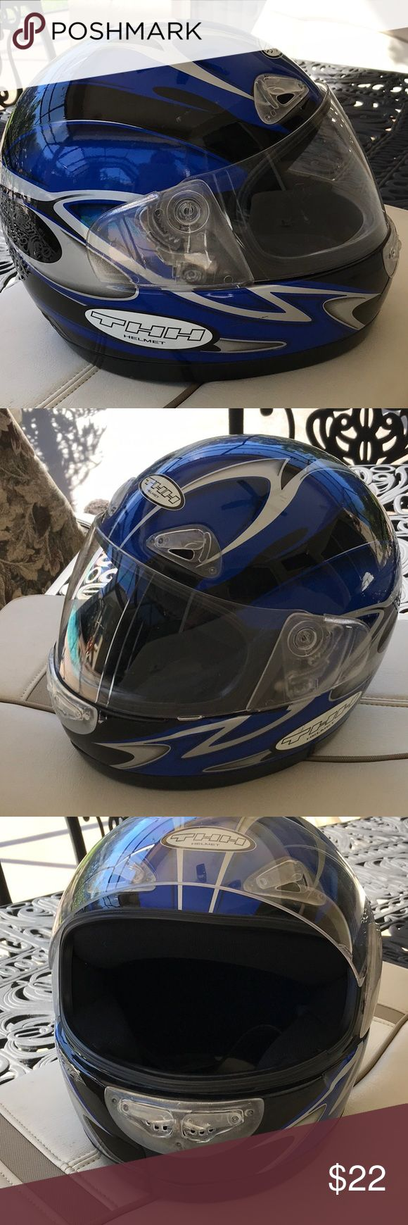 THH Helmet Royal blue and Black. DOT sticker. Markings inside T-888. W/L. THH Other