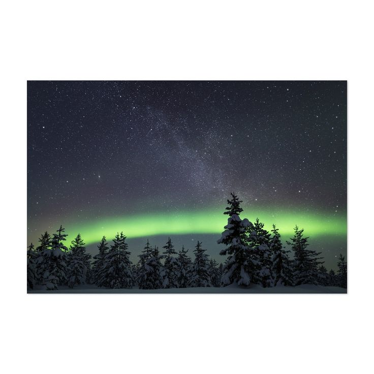 Noir Gallery Aurora Borealis Lapland Finland Unframed Art Print/Poster (12 x 18), Black