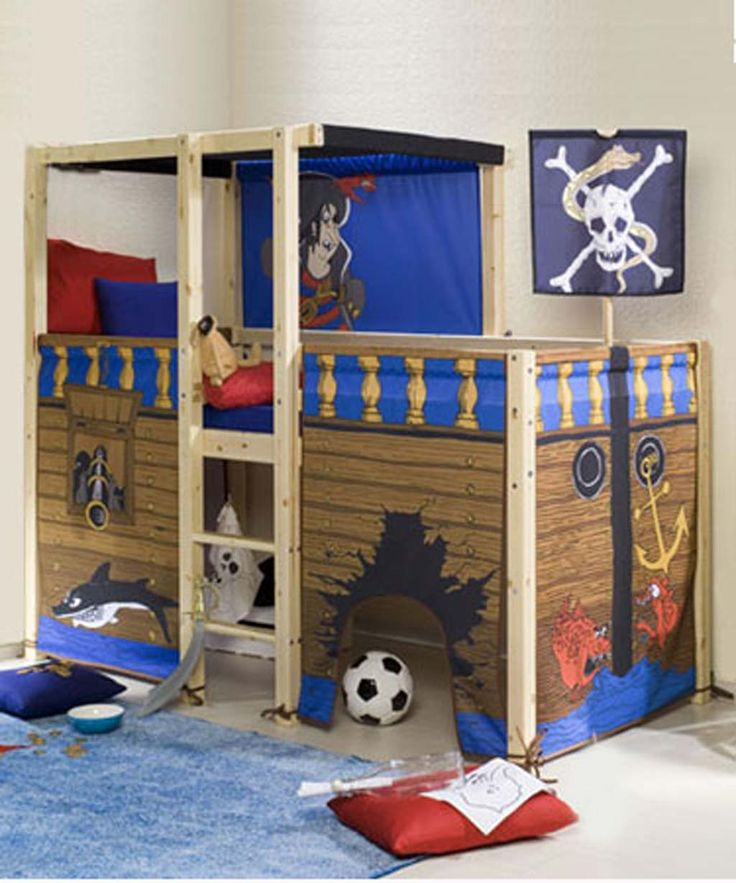 High Quality White Themed DIY Kids Room Design With Pirate Themes Bed Furniture  Decorating That Have Blue Bedding