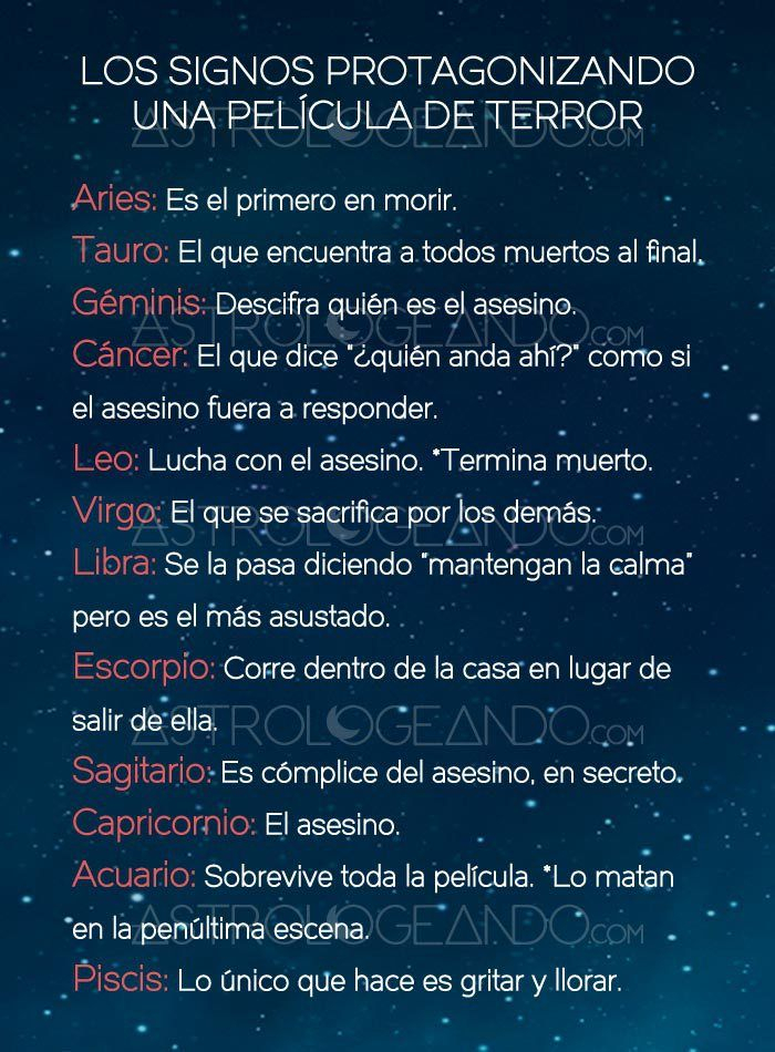 LOS SIGNOS PROTAGONIZANDO UNA PELÍCULA DE TERROR #Zodiaco #Astrología #Astrologeando