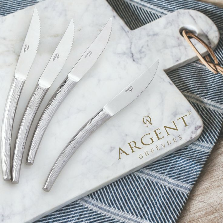 Drop dead gorgeous and right on trend, Willow 18/10 4 Piece Steak Set pairs the #glam shine with naturally inspired embossed tree motif! If you the decor type that likes a bold classy statement, or the eclectic bohemian home dweller (or even somewhere in between), this Steak Knife Set will fit your table from winter warm formal dining through summer steak outdoor barbecues! #KitchenPrepToTableSet #TrendAlert #Argent