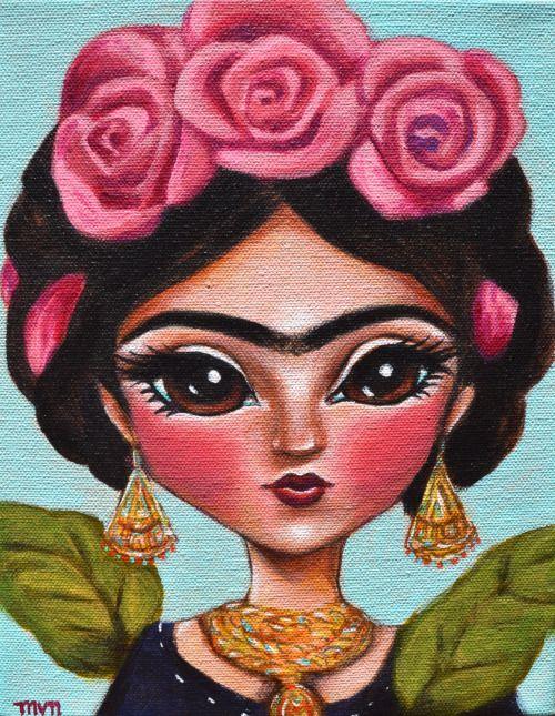 Magdalena Carmen Frieda Kahlo y Calderón https://www.facebook.com/bancoimagem/ illustrationsforinstance: Frida with Roses- Frida Kahlo inspired illustration portrait, big eye art, whimsical print by Melissa Nebrida