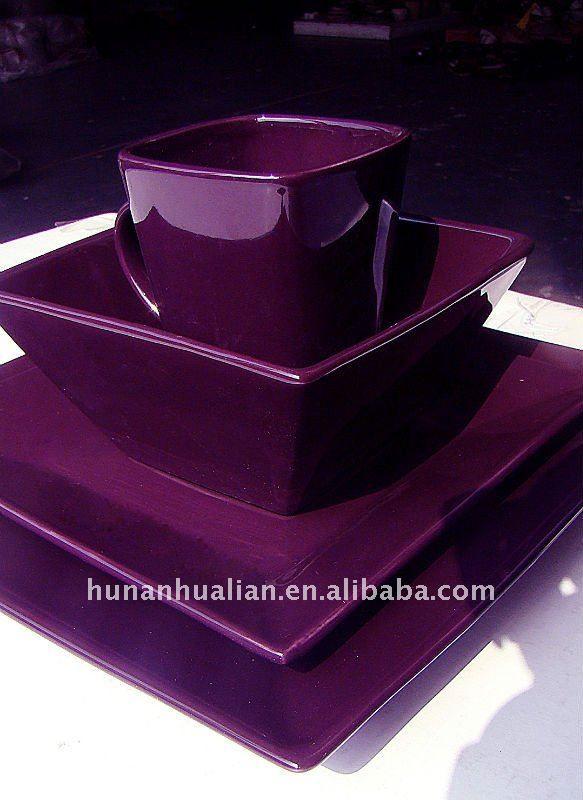 Purple+Dishes | noble purple stock square ceramic dinnerware set, View purple ceramic ...