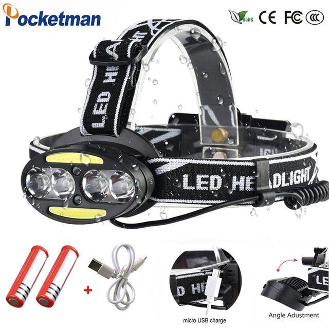 Led Headlamp Usb Charge Head Light 15000 Lumen Flashlight Camping Waterproof New