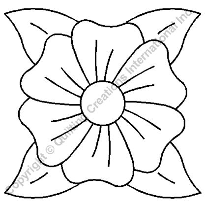 "Quilting Stencils > Floral & Leaf Block - Item: 9"" on QuiltingCreations.com"