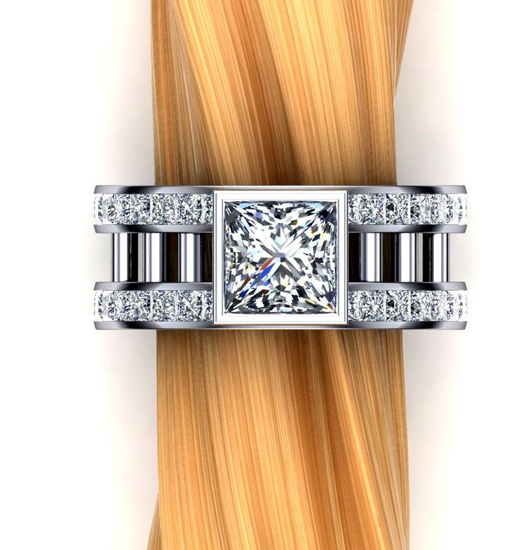 Two Carat Diamond Engagement Ring, Princess Cut, Double Rows of Accent Diamonds by jetflair on Etsy https://www.etsy.com/listing/225767524/two-carat-diamond-engagement-ring