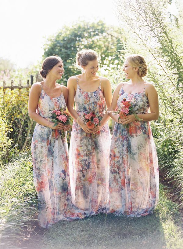 floral patterned bridesmaid dresses | Ali Harper #wedding