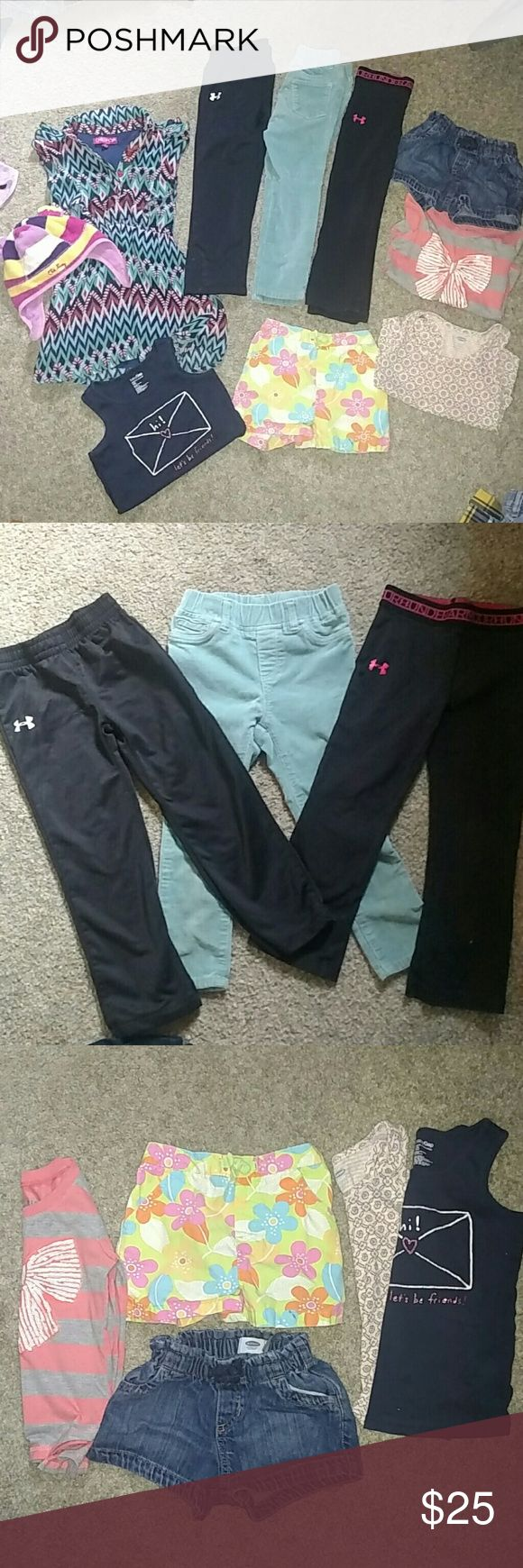Size 3T all for 25$ 2 under armour pants, 1 baby gap pants, 1 old navy shorts, 1 circo shorts, 1 chillipop dress, 3 tops baby gap old navy and colette lilly and an old navy hat Under Armour Bottoms