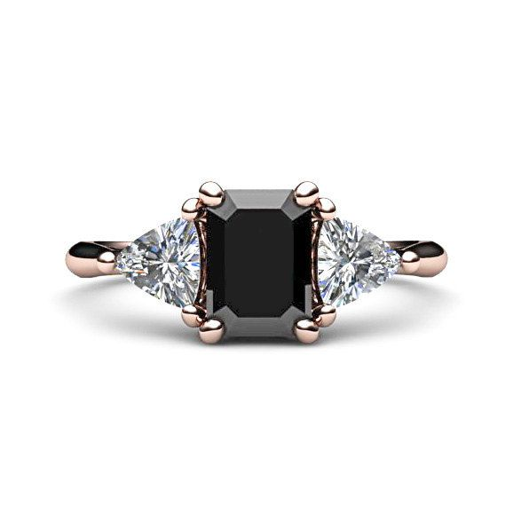 14K Black Diamond Engagement Ring Vintage Black by RareEarth, $3,720.00