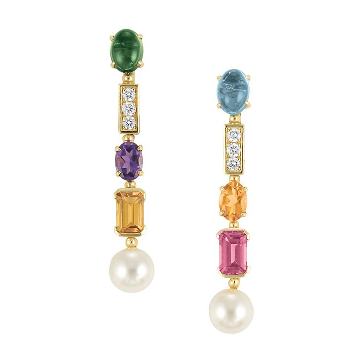 Pair of Gold, Gem-Set, Diamond and Cultured Pearl Pendant-Earrings, Bulgari