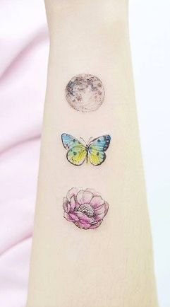 Butterfly, moon, and cherry blossom by Banul