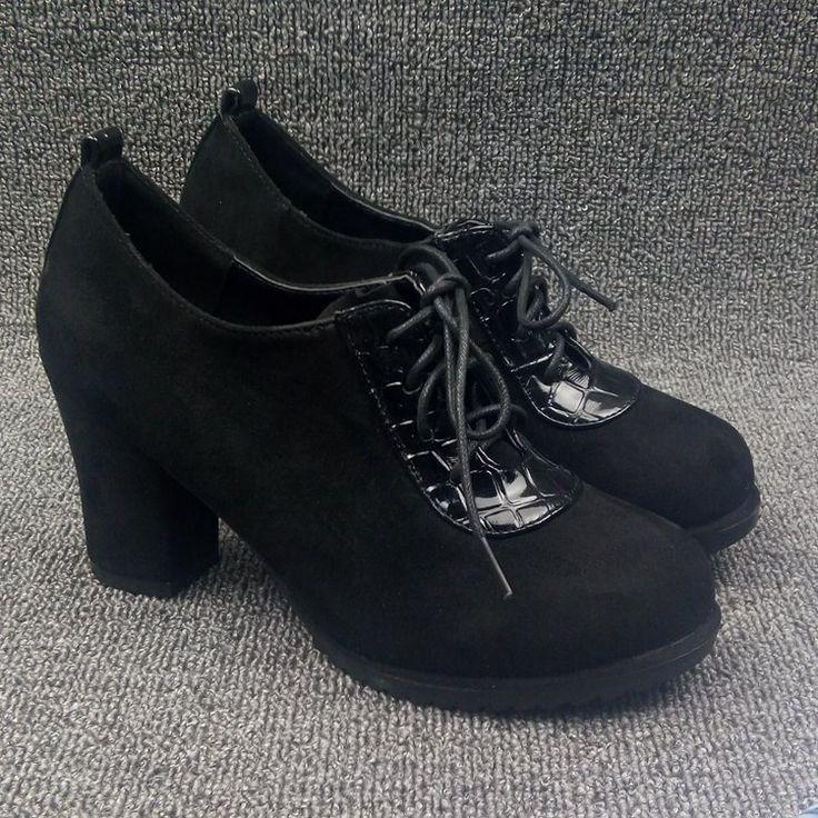 2016 Падение глубоко во рту на высоких каблуках на шнурках замшевые туфли, толстые с диким камнем мозаики рисунок мода повседневная обувь - Taobao