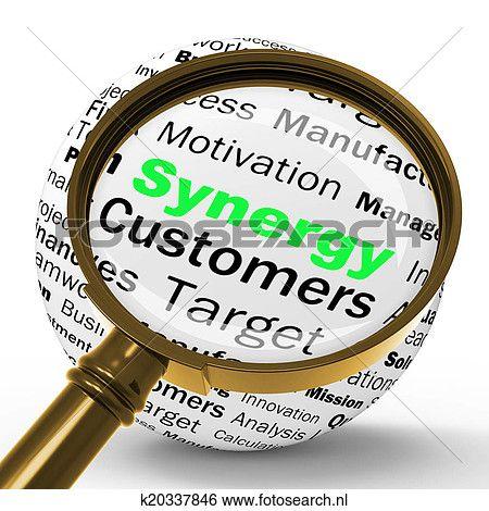 synergy, vergrootglas, definitie, middelen, vorm een team werk, en, samenwerking Bekijk Grotere Foto