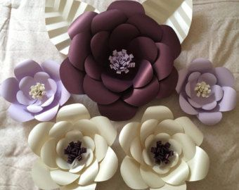 3D Wall Flowers Large Paper Flower Set of 3 by TeaTimeCrafty