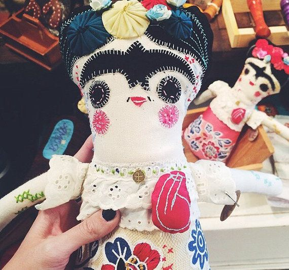 Handmade Frida Kahlo Embroidered Softie Doll by themakegood