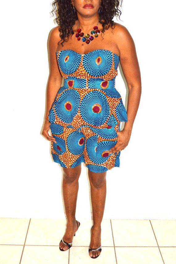 Blue And Brown Strapless Peplum African Shorts Set. Handmade Short Set, African Print Two Piece Set