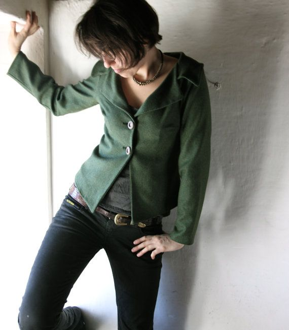 Womens Blazer - Jacket for women - handmade outerwear green wool coat winter coat