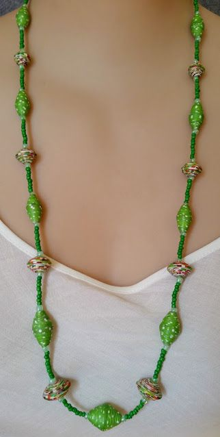 multi coloured and green spotted paper bead and seed bead necklace. $35.00