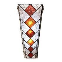 Cone Shaped Stained Glass Wireless Wall Sconce
