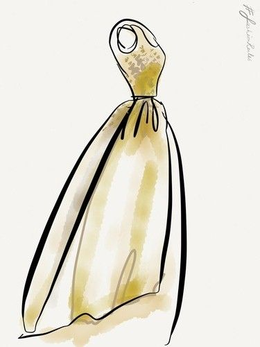 David Poole, illustrator of Fashion Rules on Paper, was giving a helping hand at the Fashion Rules exhibit in Kensington Palace last weekend. Here's one of his illustrations of HM The Queen's dress.