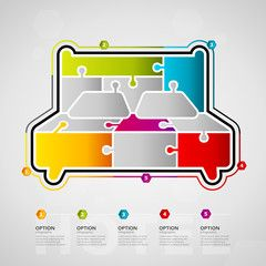 Five options Hotel timeline infographic design with bed icon made out of jigsaw pieces