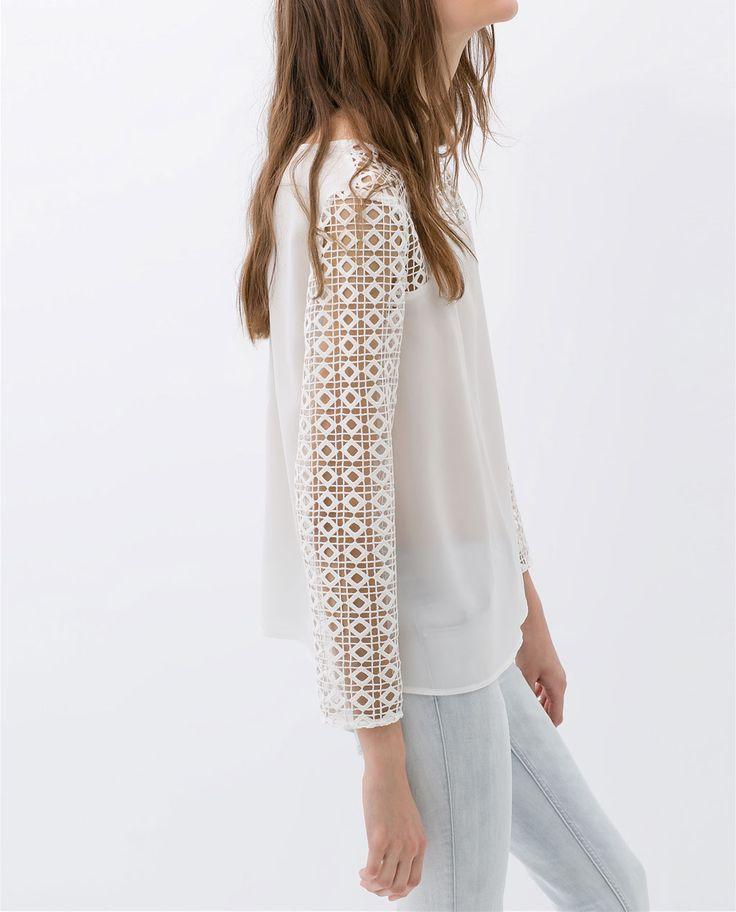 Bilde 2 fra KOMBINERT SKJORTE GUIPURE fra Zara