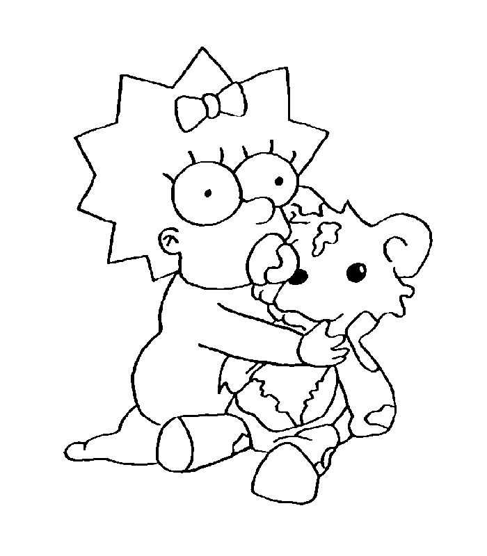 free the simpsons coloring pages for girls and boys maggie