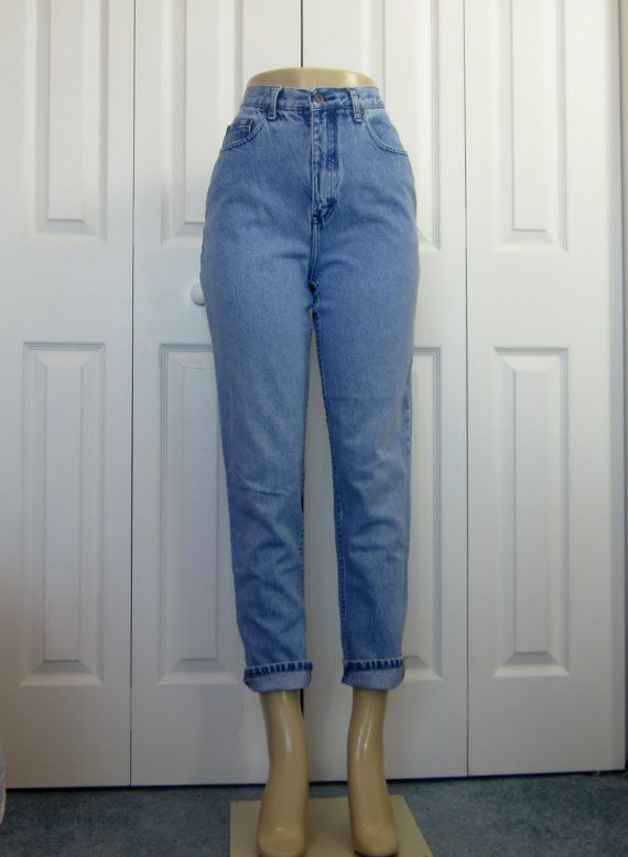 Vintage 80s 90s High Waist Jeans Hipster Mom Jeans Skinny Tapered Leg High Waisted Denim Jeans ...