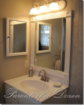 How to frame a bathroom mirror i would like to try this for Nice bathroom mirrors
