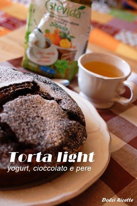 Torta light yogurt, cioccolato e pere #light #perecioccolato #stevia #stevida #novaresezuccheri #chocolate