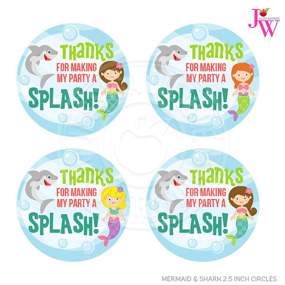 Mermaid & Shark Printable Party Favor Tags, Cupake Toppers, Printable Mermaid Party Favors, Thanks for Making My Party a Splash, Thank You