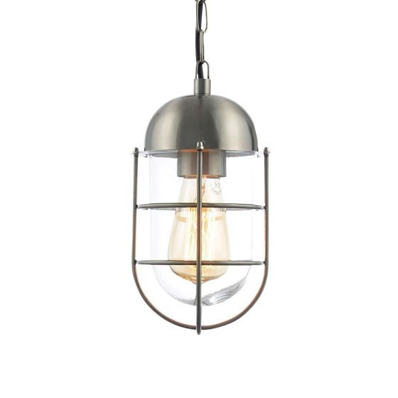 KARI Caged Hanging Lantern. Part of the Forum lighting ZINC range. Finished in stainless steel, also availble in black.\nIncludes 1 x 60W Max E27 lamp, LED compatible. IP44 rated - ZN-24508-SST - £42.38