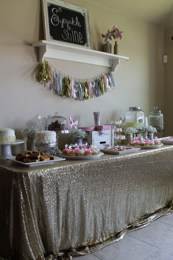 Beautiful Sweets Table at a Sparkle and Shine Party - love fab is that gold sparkly tablecloth?!