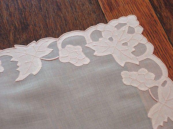 Em's Heart -Vintage Linen Madeira Embroidered Organdy Mats Napkins Set