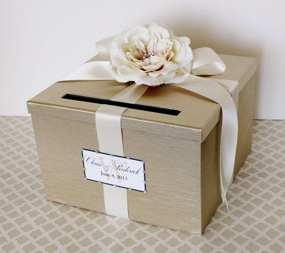 Card Boxes Wedding Gift Idea: Wedding Card Box Champagne Gold Ivory Money Holder
