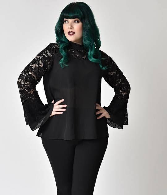 Gothic Style Plus Size Black Lace Bell Sleeve Chiffon Blouse