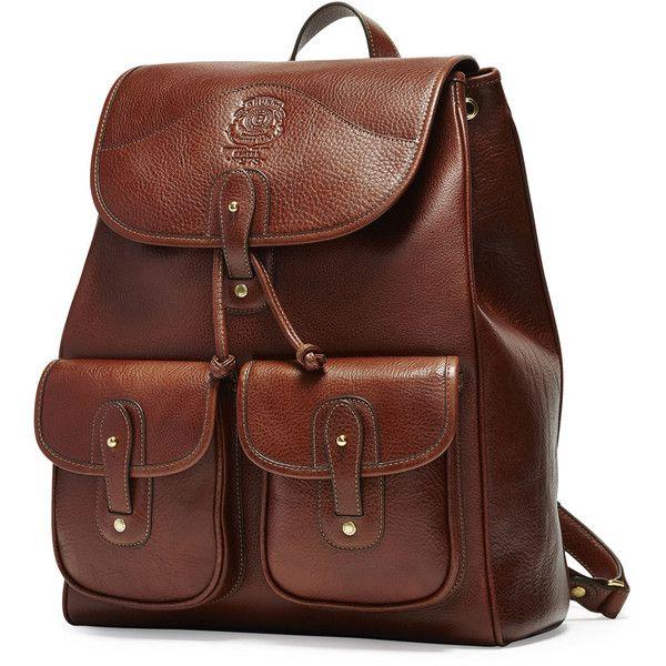 Ghurka Blazer No. 278 Leather Backpack ($1,395) ❤ liked on Polyvore featuring men's fashion, men's bags, men's backpacks, men bags backpacks, vintage chestnut, mens leather backpack and mens backpack