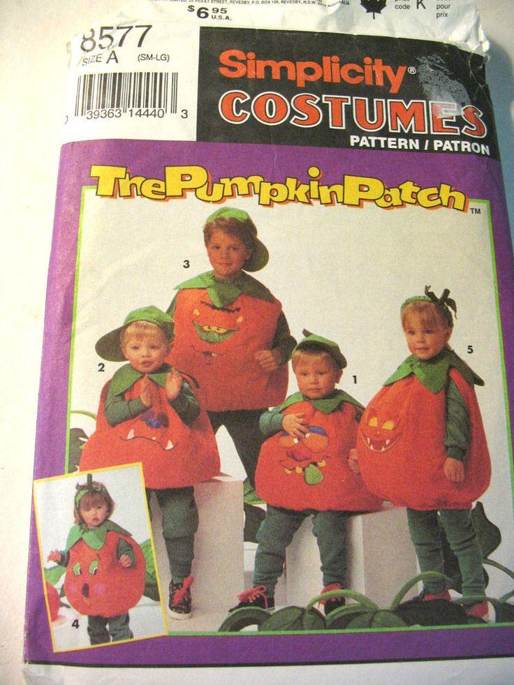 UNCUT Simplicity Sewing Pattern Child's Pumpkin Halloween Costume 8577 SML…