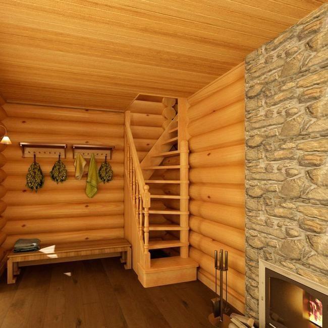 Деревянная лестница для маленького проема