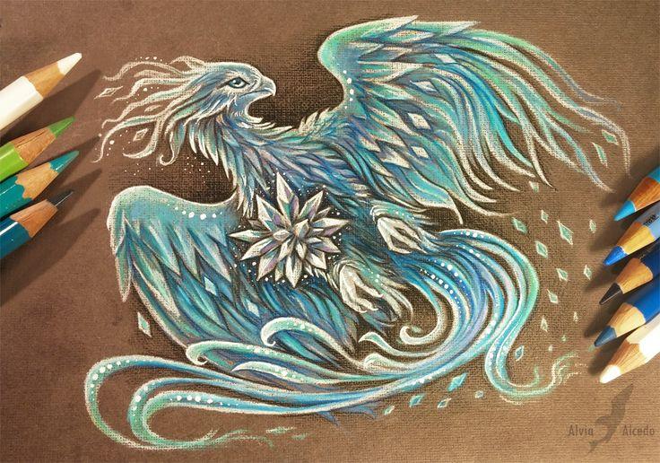 Ice phoenix Pencils, pens on a brown textured paper. Art © me  FACEBOOK ETSY SHOP TWITTER TUMBLRMY PRINTS