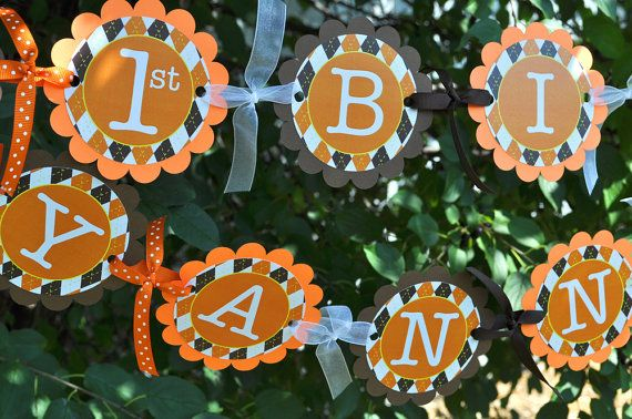 Argyle Happy Birthday Banner - Halloween, Autumn Birthday Party Decorations - Fall Colors Brown, Orange, Yellow on Etsy, $35.00