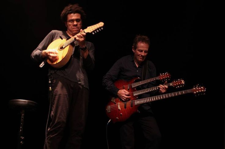John Paul Jones (right) performing with Hamilton de Holanda at the Mandolines de Lunel festival in France, Nov. 4, 2013.